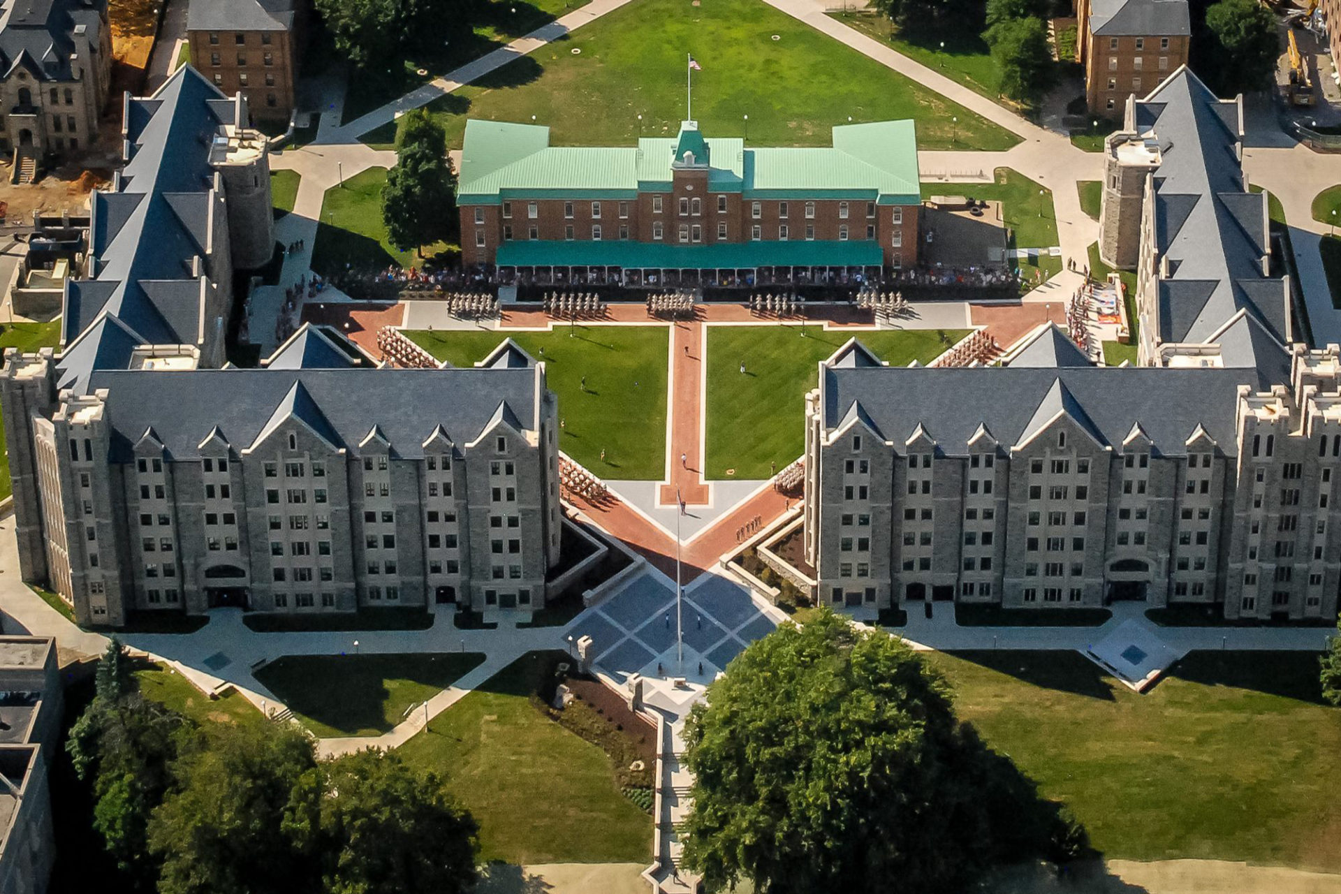 Aerial view of Pearson Hall and New Cadet Hall at Virginia Tech in Blacksburg, VA; Architect and engineer: Clark Nexsen